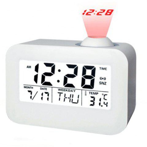 Discount Sound Controlled Backlight Projection Calendar Digital Thermometer LED Clock Snooze Mute Voice