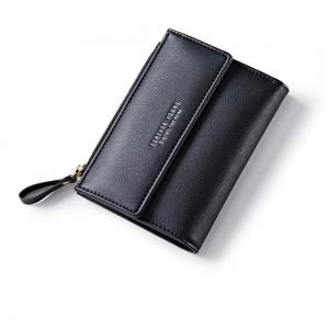 Zipper Short Standard Wallet Fashion PU Leather Solid Coin Card Purse Women Lady Clutch -