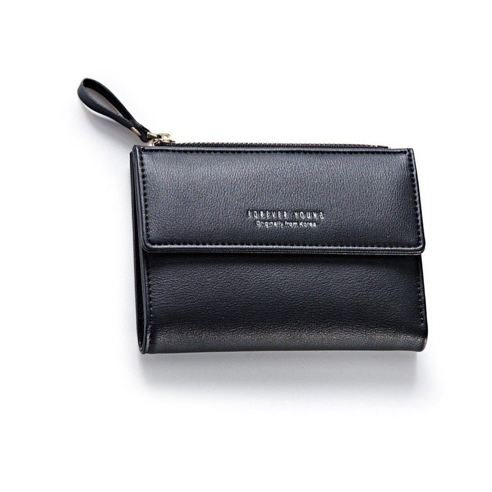 Outfit Zipper Short Standard Wallet Fashion PU Leather Solid Coin Card Purse Women Lady Clutch