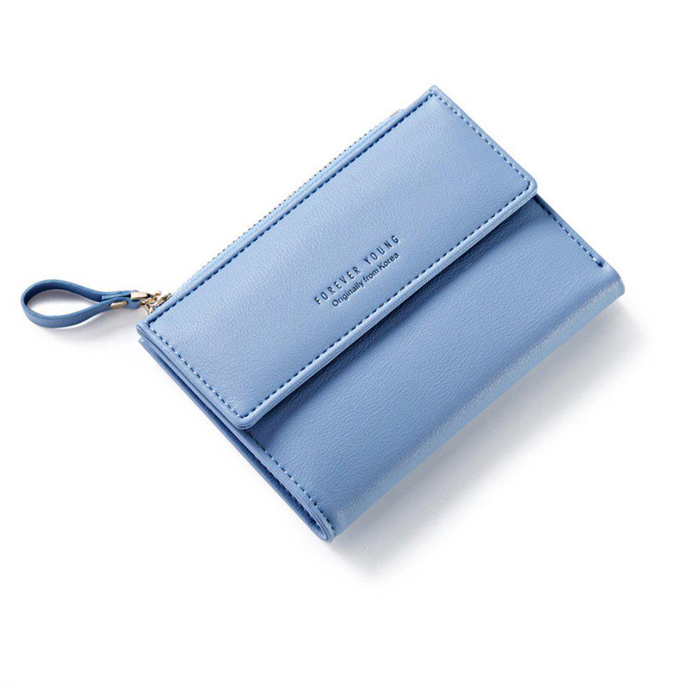 Discount Zipper Short Standard Wallet Fashion PU Leather Solid Coin Card Purse Women Lady Clutch