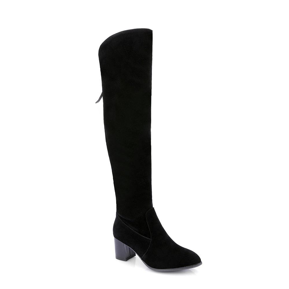 Sale Dull Polish Fashion Over  Knee Boots With Zipper