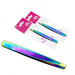 KESMALL CO191  Stainless Steel Slanted Eyebrow Tweezers Clips Face Nose Hair Removal Makeup Tools 1pc -