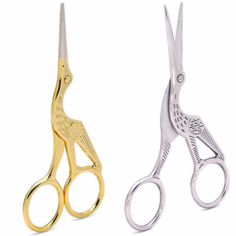 Buy KESMALL CO798 Stainless Steel Mini Makeup Scissors Gold Cranes Beauty Tools 2PCS