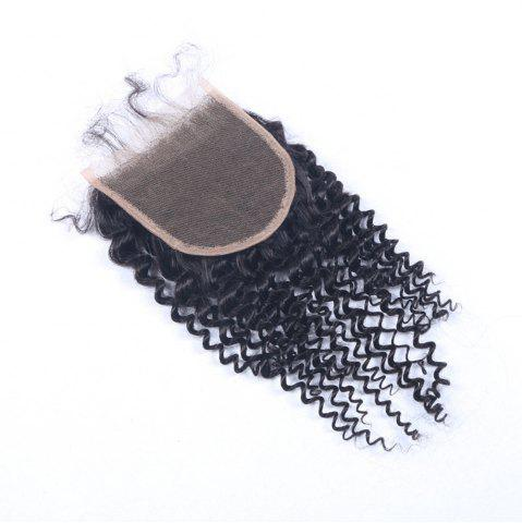 "Buy 100% Human Hair Virgin Brazilian Swiss Lace Closure Women's Hairpiece 4x4"" Natural Black Kinky Curly Closure Sew In"
