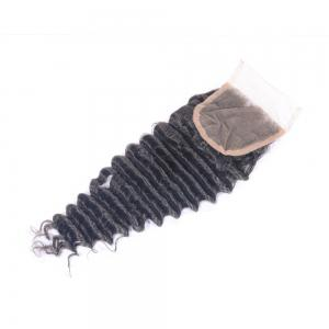 Virgin Brazilian Deep Wave Swiss Lace Closure with Baby Hair Bleached Knots 4x4 Natural Black Human Hair Top Closure Piece for Women -