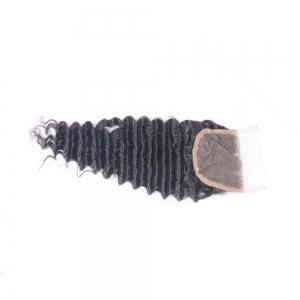 100% Human Hair Deep Wave Swiss Lace Closure 4x4 Natural Color Free Part Brazilian Closure Piece for Women -