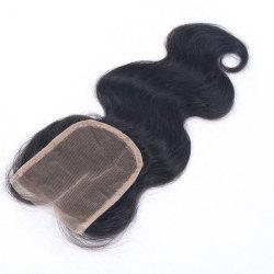 Middle Part 4x4 Lace Closure Virgin Peruvian Human Hair Body Wave Closures with Baby Hair Natural Color Can Be Dyed or Bleached -
