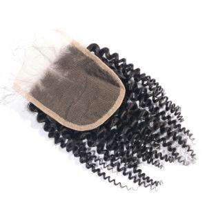 Indian Remy Human Hair Afro Kinky Curly Lace Closure with Baby Hair 4x4 Inches Natural Black Bleached Knots Closures -