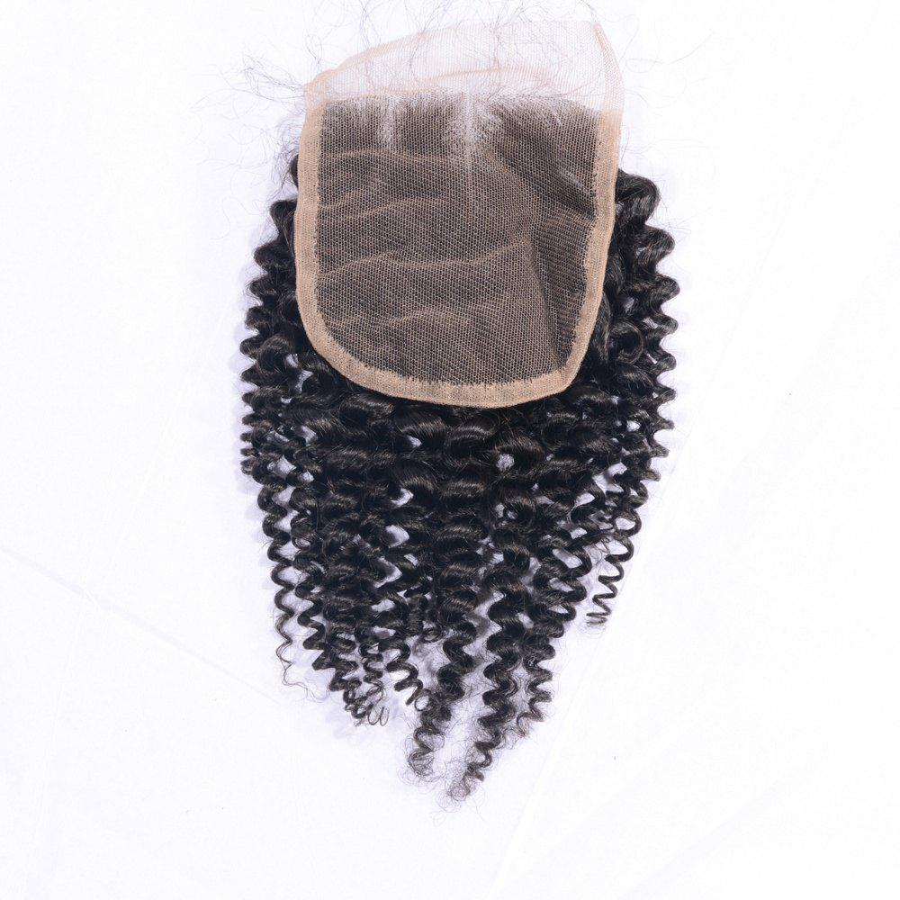 Outfits Indian Remy Human Hair Afro Kinky Curly Lace Closure with Baby Hair 4x4 Inches Natural Black Bleached Knots Closures