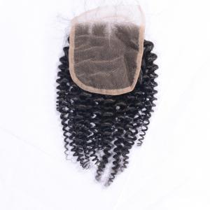 Afro Kinky Curly Brazilian Human Hair Swiss Lace Closure Sew In 4x4 Middle Part Natural Color Virgin Closures with Baby Hair -