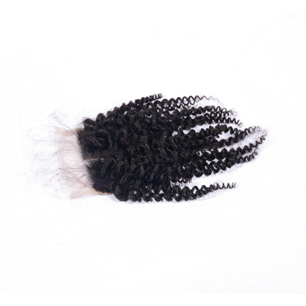 Cheap Afro Kinky Curly Brazilian Human Hair Swiss Lace Closure Sew In 4x4 Middle Part Natural Color Virgin Closures with Baby Hair