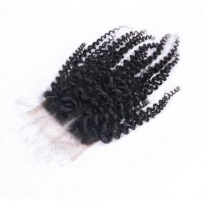 Virgin Brazilian Human Hair Kinky Curly Closure 4x4 Natural Black Middle Part Lace Closures with Baby Hair 8-20 Inches -