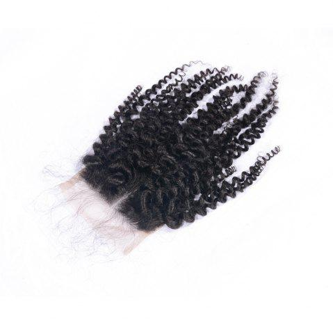 Chic Virgin Brazilian Human Hair Kinky Curly Closure 4x4 Natural Black Middle Part Lace Closures with Baby Hair 8-20 Inches