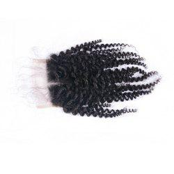 Peruvian Human Hair Afro Kinky Curly Lace Closure Middle Part 4x4 Natural Color Virgin Top Closures Bleached Knots -