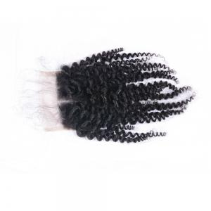 100% Human Hair Middle Part Afro Kinky Curly Brazilian Lace Closure with Baby Hair 4x4 Natural Black Bleached Knots Closures -