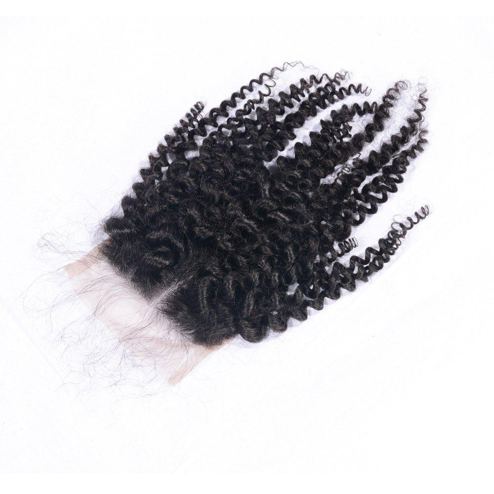 Unique 100% Human Hair Middle Part Afro Kinky Curly Brazilian Lace Closure with Baby Hair 4x4 Natural Black Bleached Knots Closures