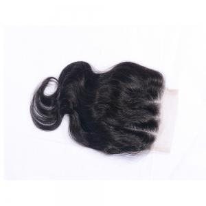 """Natural Color Three Part Swiss Lace Human Hair Body Wave Closure Sew In or Glue 4x4"""" Bleached Knots Closures with Baby Hair -"""