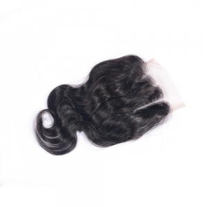 "Natural Color Three Part Swiss Lace Human Hair Body Wave Closure Sew In or Glue 4x4"" Bleached Knots Closures with Baby Hair -"