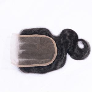 """4x4"""" Brazilian Virgin Real Human Hair Body Wave Closure with Baby Hair Natural Black Bleached Knots Lace Closures Sew In -"""