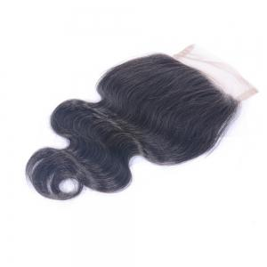 """Unprocessed Virgin Human Hair Brazilian Body Wave Free Part Swiss Lace Closures Sew In Natural Color 4x4"""" -"""