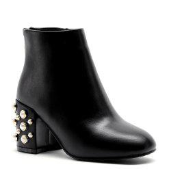 Faux Pearl Back Zipper PU Ankle Boots -