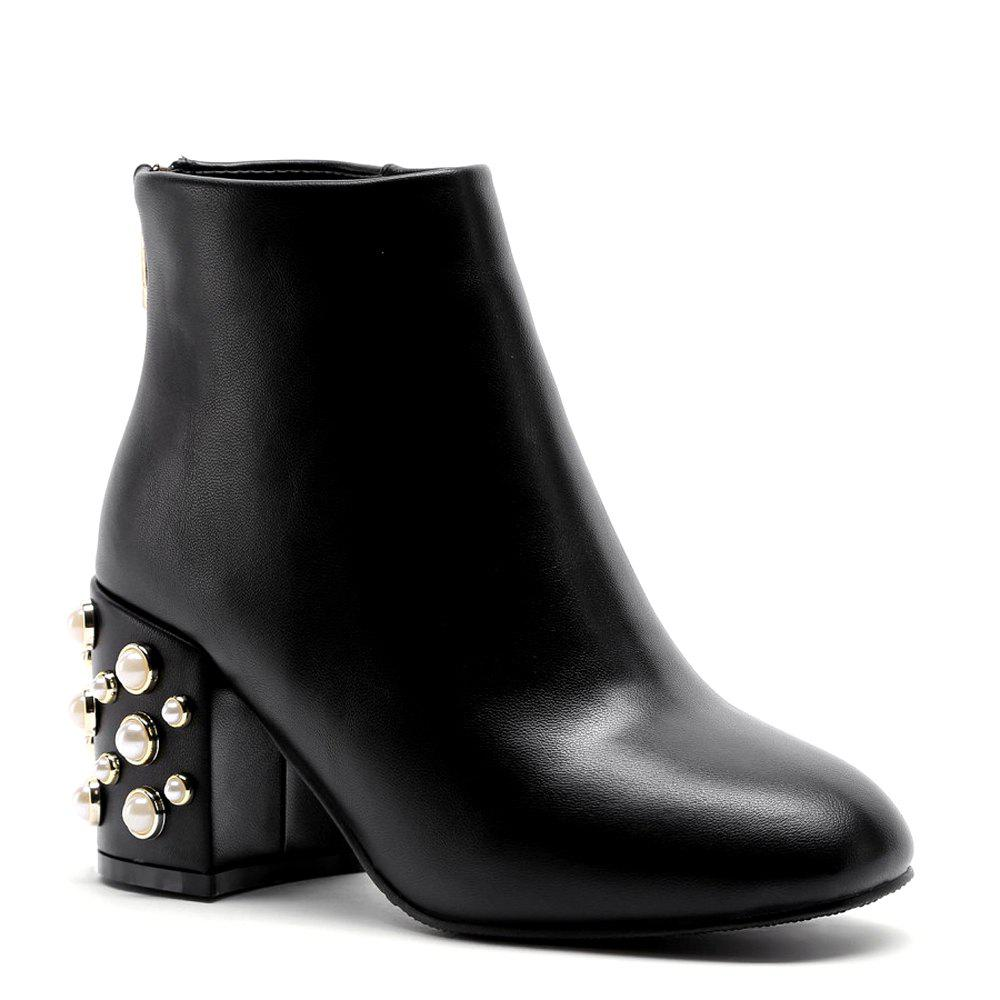 Outfits Faux Pearl Back Zipper PU Ankle Boots