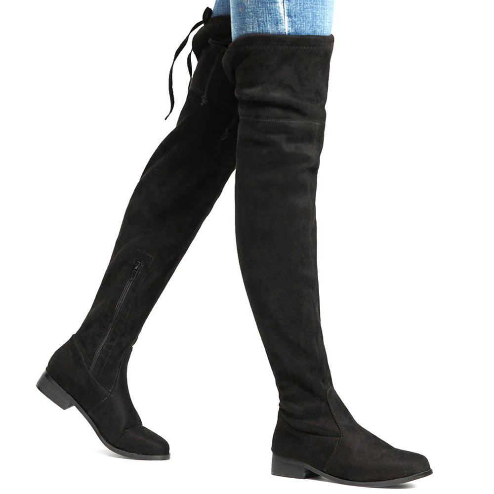Trendy Round Toe Lace Up Thigh High Boots