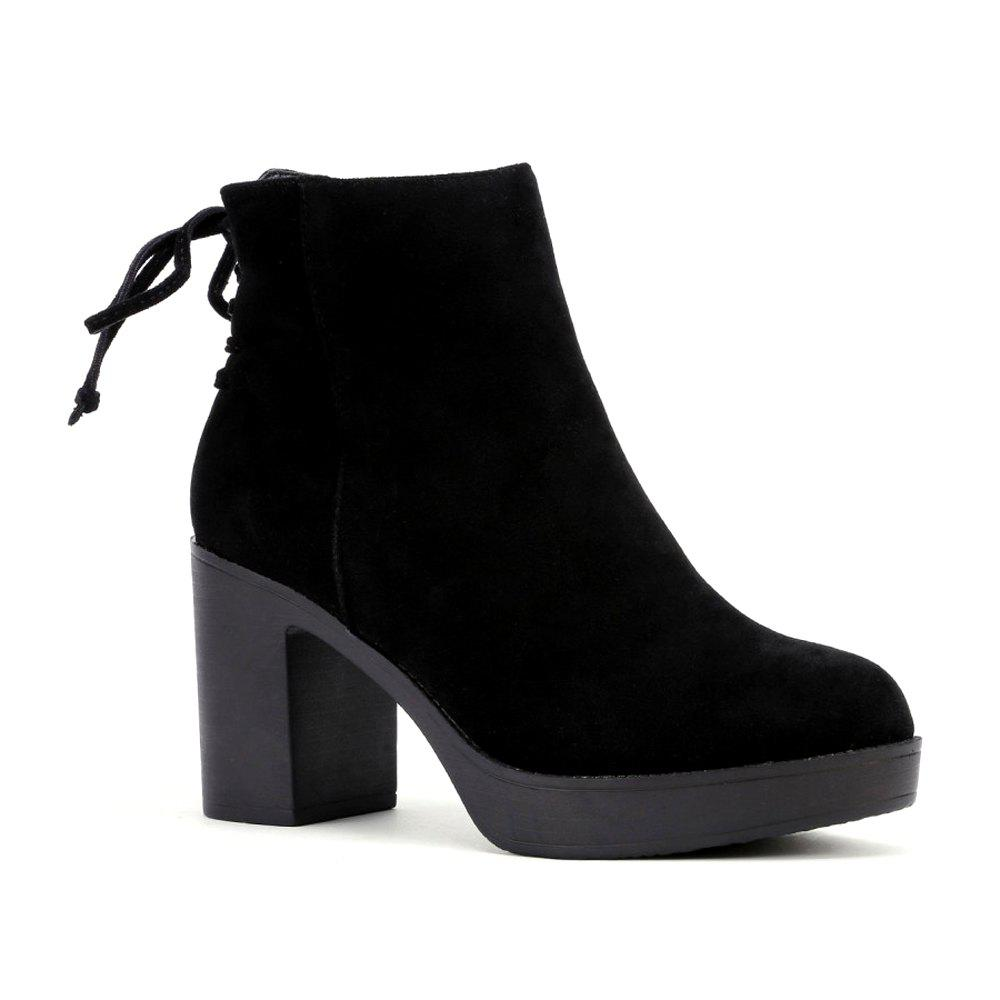 Latest Lace Up Back Block Heeled Boots