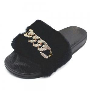 Faux Fur  Flat Slippers -