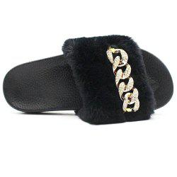 Faux Fur  Faux Flat Slippers -