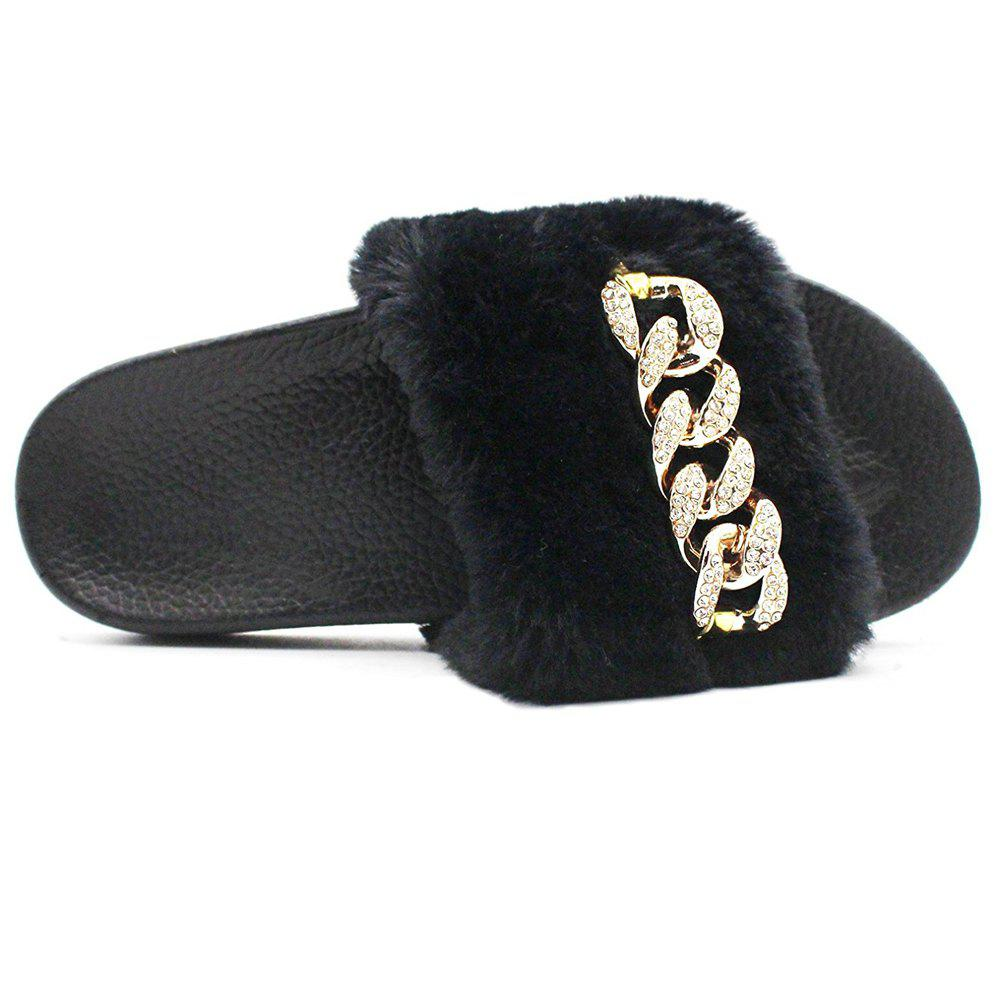 Trendy Faux Fur  Faux Flat Slippers