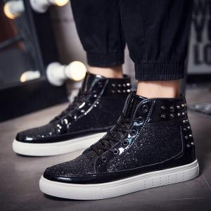 Men High Top Shoes,Autumn Hip Hop Casual Shoes -