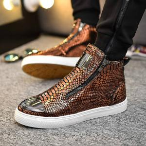 Men's Fashion High Top Loafers, Leisure Sneakers Hip Hop Shoes -