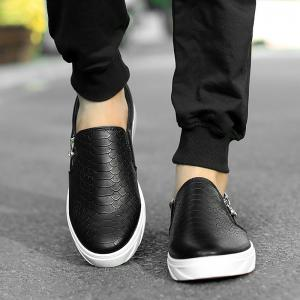 Male Casual Loafers Snakeskin Grain Zipper Ornament Slip-On Low Top Black And White Two Colors Size For 39-44 Zapatos Hombre Men Leisure Leather Shoes Z1364 -