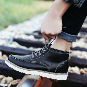 Men's High Top Ankle Boots Lace Up Leather Shoes Martin Boots Business Shoes Winter Dress Shoes -