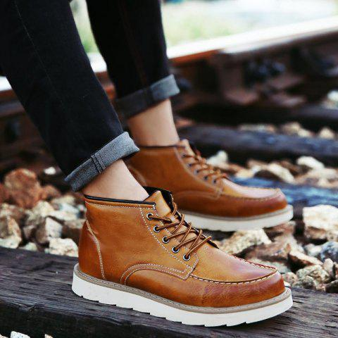 Shop Men's High Top Ankle Boots Lace Up Leather Shoes Martin Boots Business Shoes Winter Dress Shoes