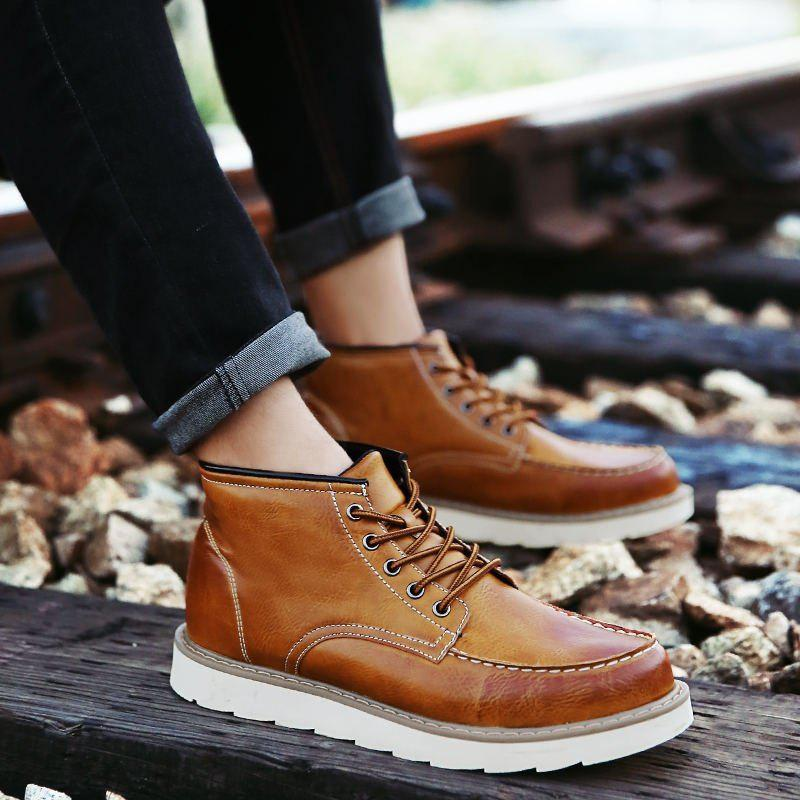 Hot Men's High Top Ankle Boots Lace Up Leather Shoes Martin Boots Business Shoes Winter Dress Shoes