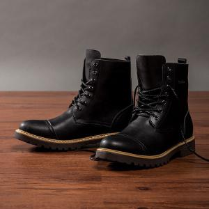 Men's High Top Leather Boots Lace Up Ankle Boots Winter Warm Snow Boots Cool Military Style Shoes -