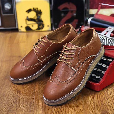 Unique Men's British Style Business Shoes Lace Up Flats Leather Shoes Oxford Shoes