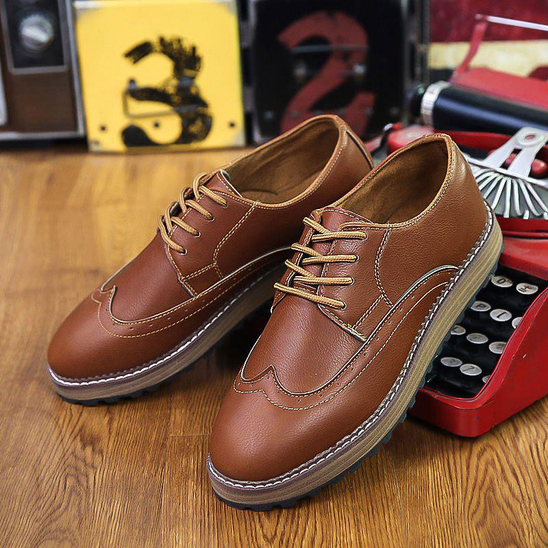 Trendy Men's British Style Business Shoes Lace Up Flats Leather Shoes Oxford Shoes