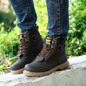 2017 New Men's Shoes In The High-help Tooling Shoes Shoes Round Head with Rubber At The End of Martin Boots -