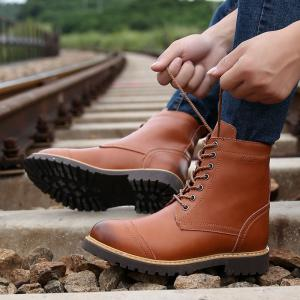 Men's High Top Leather Boots Winter Warm Martin Boots Lace Up Ankle Boots -