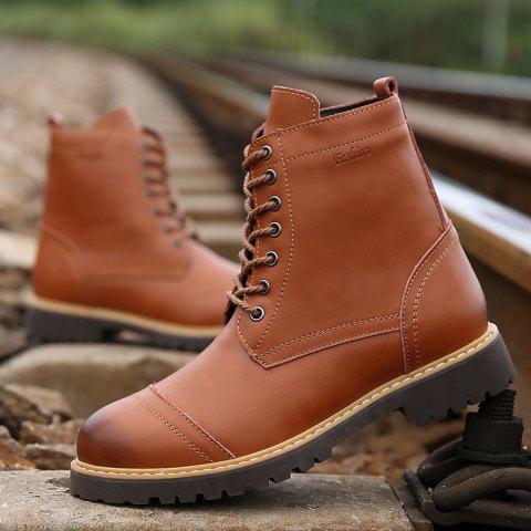 Trendy Men's High Top Leather Boots Winter Warm Martin Boots Lace Up Ankle Boots