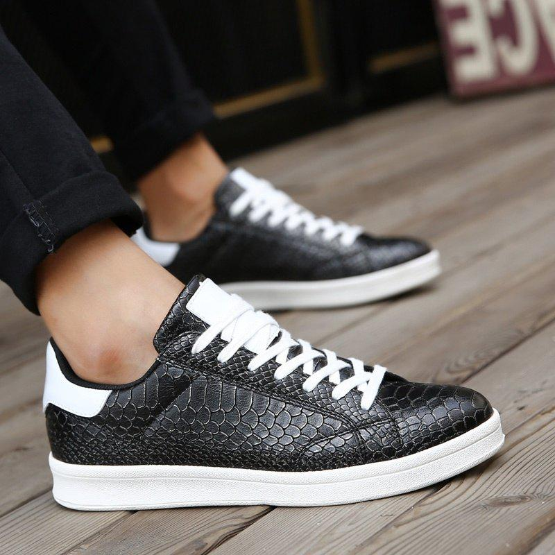 Discount Men Spring and Autumn Casual Snakeskin Pattern Leather Shoes,leisure Skateboard