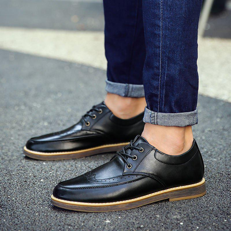 Trendy Men's Casual Leather Shoes Slip-on Loafers Lace Up Dress Shoes Business Shoes