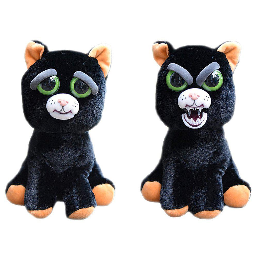 Fancy Snarl Adorable Plush Stuffed Polar Christmas Cat Toy with Face-changing Function