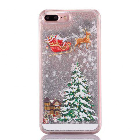 Online Christmas Element Liquid Sparkle Floating Luxury Protective Bumper Silicone Cove for iPhone 7 Plus / 8  Plus