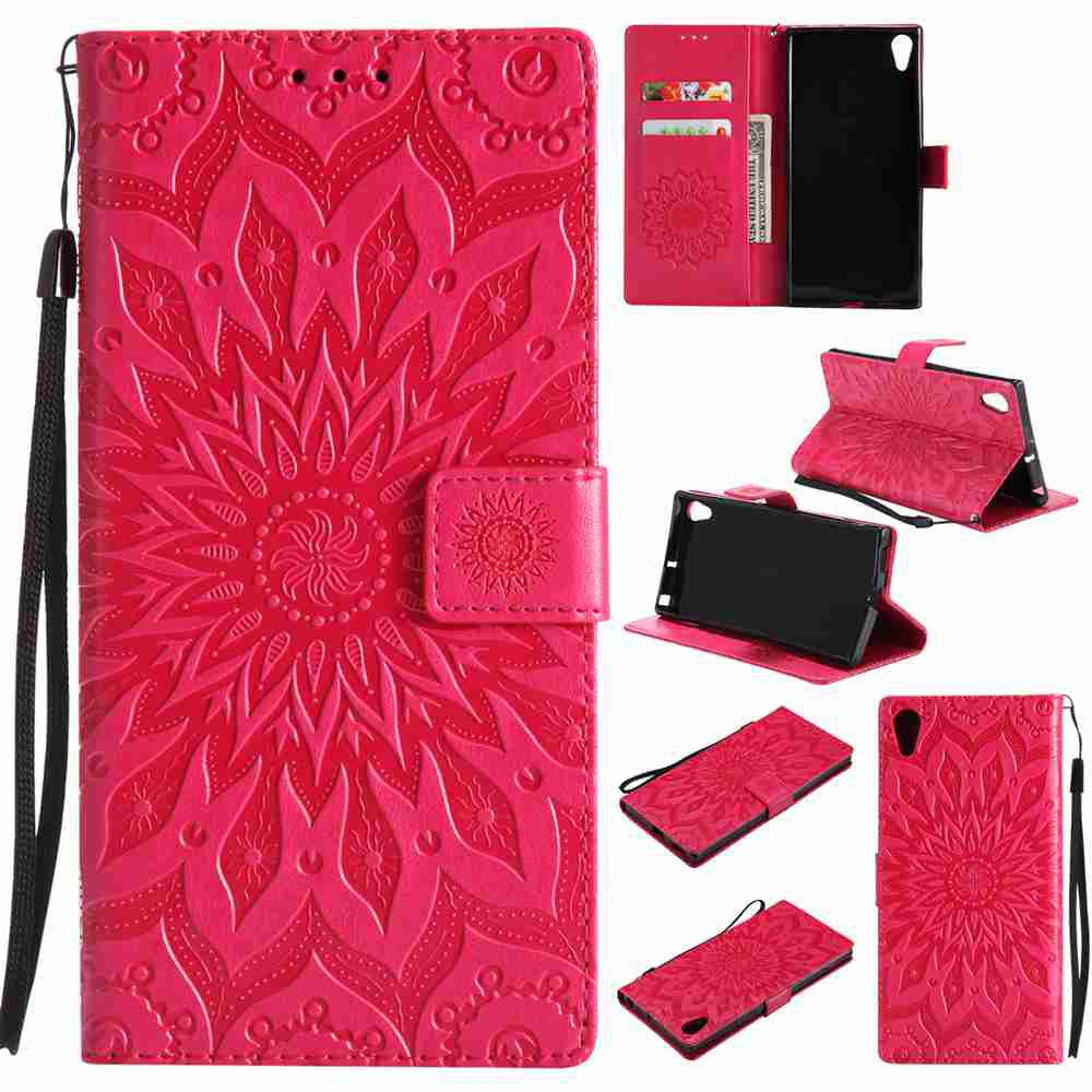 Buy Embossed Sun Flower PU TPU Phone Case for Sony Xa1 Ultra