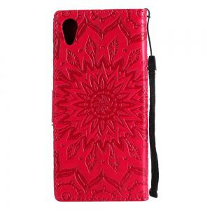 Embossed Sun Flower PU TPU Phone Case for Sony Xa1 / Z6 -
