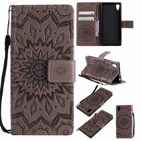 Trendy Embossed Sun Flower PU TPU Phone Case for Sony Xa1 / Z6